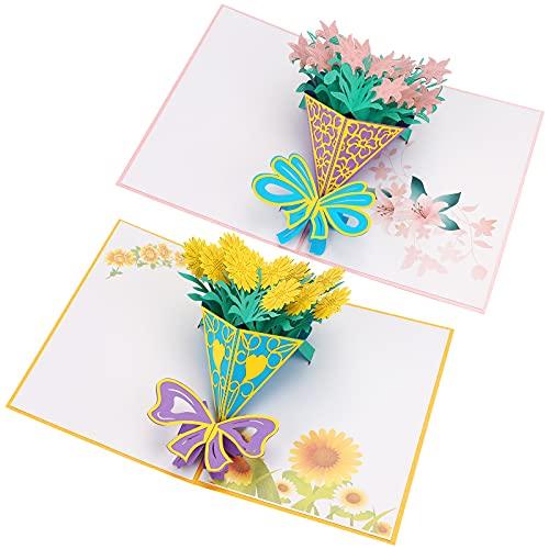 Biglietti auguri Compleanno,Biglietto di auguri pop-up 3D Biglietto d'Auguri Matrimonio biglietto di auguri con bouquet di fiori Biglietto di auguri per la festa della mamma per Natale(Mixed 01)