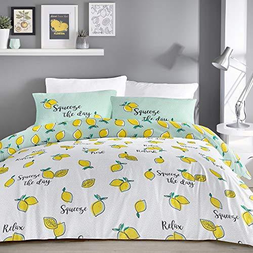 Fusion Lemons Print Reversible Duvet Cover Set, Yellow, Single, LOSYW11PGU