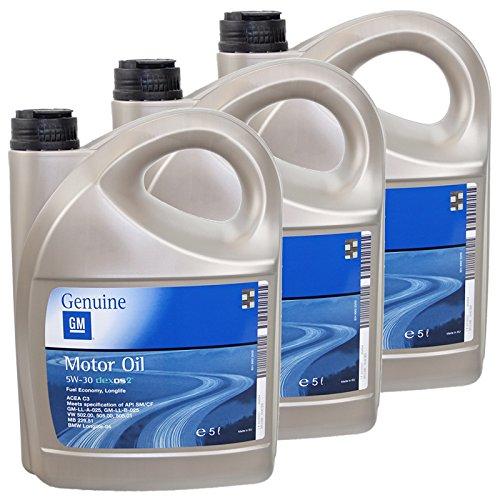 3x 5L 5 Liter ORIGINAL OPEL GM MOTORÖL 5W-30 dexos2 Longlife 5W30 ÖL - 1942003
