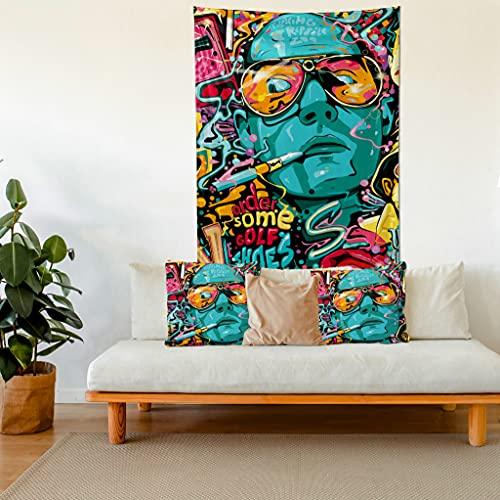 The Lucid Lab- Fear and Loathing, divertido tapiz bohemio para colgar en la pared, tapiz psicodélico y 2 fundas de almohada, juego de 3, tapiz abstracto, fundas de almohada abstractas