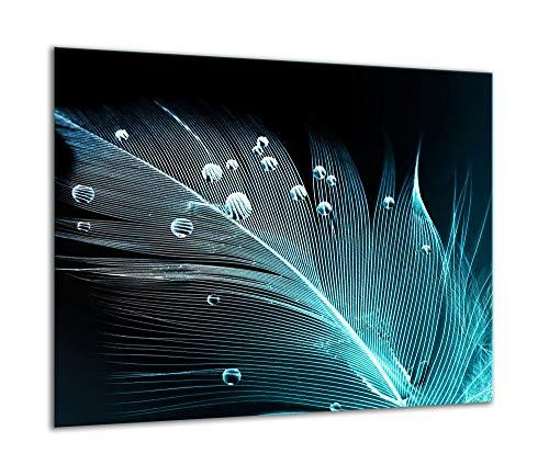 TMK | Herdabdeckplatte 60x52 Einteilig Glas Elektroherd Induktion Herdschutz Spritzschutz Glasplatte Deko Schneidebrett Schwarz Blau