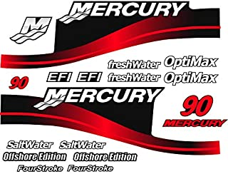 Mercury Outboard Graphics Kit Decal Sticker Compatible with Mercury 90 HP Red