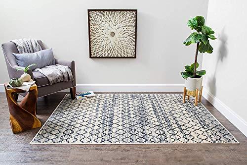 Anji Mountain Lattice Abrash Area Rug, 8 x 10-Feet, Black/White