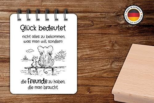 NEWSTAMPS DIE STEMPELMACHER Motivstempel Glück bedeutet Stempel aus Holz zum Basteln von Karten - 60x85mm - Spruchstempel Sprüche Stempel für Papier, Textil und Fondant - Made in Germany