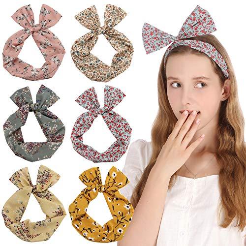 Sea Team Twist Bow Bandeaux Filaires Écharpe Wrap Cheveux Accessoire Hairband (6 Packs)