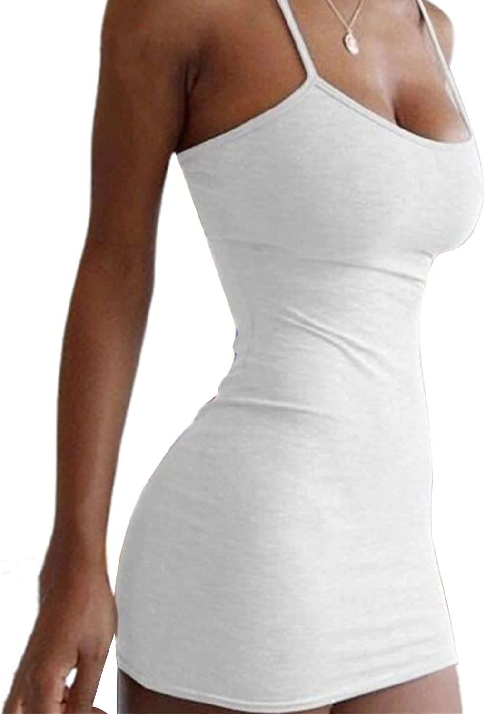 Women's Halterneck Sexy Tight Skirt Low Cut Package Bodycon Dress Solid Color Nightclub Spaghetti Strap Mini Dress (White,X-Small)