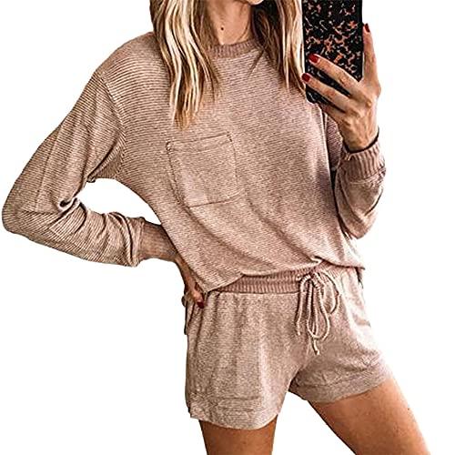 Conjunto de Pijama para Mujer Conjunto de 2 Piezas Tops y Pantalones de Manga Corta para Mujer Pijamas Casuales Pijamas Conjunto de Pijama para Mujer Conjunto de 2 Piezas para Mujer Conjuntos