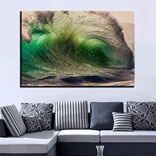 zzlfn3lv Decoración del hogar Sala de Estar Arte de la Pared Cartel Modular 1 Panel Wave Landscape HD Impresión Cuadro Moderno de la Pintura de la Lona Imagen - Sin Marco