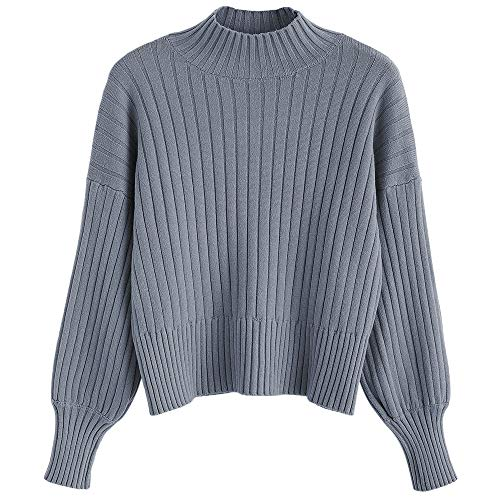 ZAFUL Damen Locker Rollkragenpullover Langarm Sweater Pulli Lose Bluse Pullover Tops(Blaues Grau)
