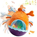 LIGHTDESIRE Baby Toys Tumbler with Music, Tummy Time Toy Silly Sound and Light, Soft Roly Poly Toy with Shaking Ball, Plush Baby Toys for 6 to 12 Months Interactive Gifts - Orange Crab (Orange)