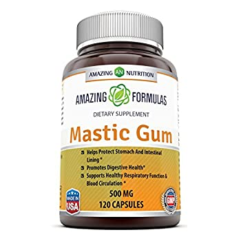 Amazing Formulas Mastic Gum 500 Mg 120 Capsules - Supports Gastrointestinal Health Digestive Function Immune Function and Oral Health - an All-Natural Remedy for Occasional Heartburn and Stomach