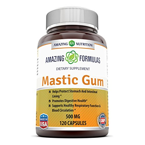 Amazing Formulas Mastic Gum 500 Mg 120 Capsules - Supports Gastrointestinal Health, Digestive Function, Immune Function and Oral Health - an All-Natural Remedy for Occasional Heartburn and Stomach