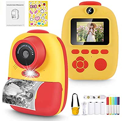 Instant Camera, Prymax Digital Print Camera with 1080P Rechargeable Kids Camera, Print Paper, Cartoon Stickers, Color Pencils, Portable Digital Camera with Camera Bag Toys Gifts for Boys Girls from