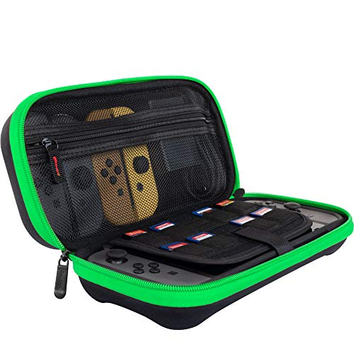 Butterfox Switch Case for Nintendo Switch, Fits AC Adapter Wall Charger, 8 Game Cartridge and 2 Mirco SD Card Holders, Large Secure Mesh Pouch for Nintendo Switch Accessories - Neon Green/Black