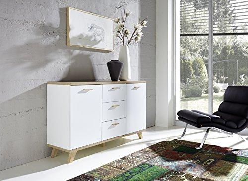 Germania Sideboard GW-Oslo | In Weiß mit Absetzungen in Sanremo Eiche | 144 x 87 x 40 cm | 3216-221