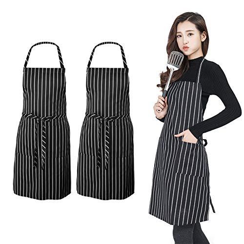 PrettyWit 2er-Pack verstellbare Wischhand-Lätzchen, Schürze mit großer Tasche, geeignet für Kochen Hausarbeit BBQ, für Männer und Frauen Modern schwarz