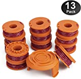 Eventronic WA0010 Replacement Trimmer Line Spool 120ft .065 inch, Compatible with Worx String Trimmers (12-Line spools+1 Cap)
