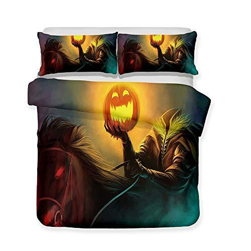 AINYD Tema de Halloween Muy Suave Transpirable Microfibra Juegos De Fundas para Edredon(200x200cm), Funda Nórdica con Cremallera, Respirable Almohada,Regalos para Amigos,Apto para Adultos Y Niños