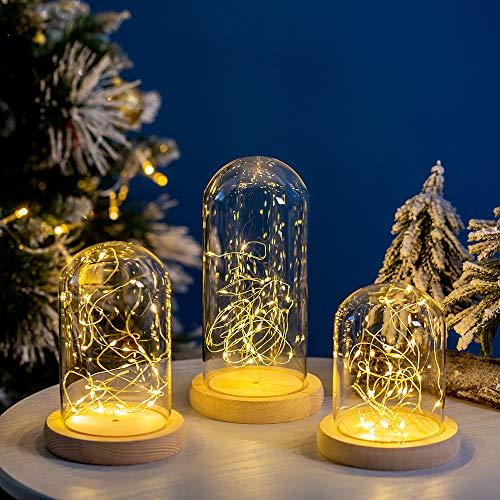 Glasseam 3 Piezas/Juego Cloche de Cúpula de Vidrio Transparente Cúpula de Cristal con Luz LED de Hadas Luces LED en Cúpula de Cristal para la Pantalla de La