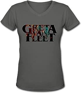 Womens T Shirts Greta Van Fleet V Neck Style Cotton Long Sleeve Tee