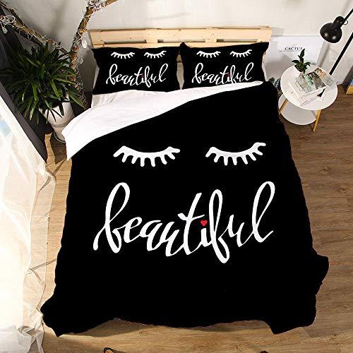Rhmvvseso Duvet Cover Black eyelashes 3D Bedding Set with Soft Microfiber for Kids Teens Adult 3 Pcs(1 Duvet Cover+2 Pillowcase), 220 x 230 cm Soft duvet cover