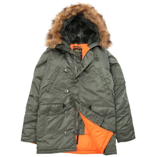 Alpha Industries Men's N-3B Slim-Fit Parka Jacket with Removable Faux-Fur Hood Trim, Sage/Orange, Small