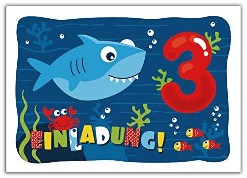 12 Einladungskarten zum 3. Kindergeburtstag dritte Geburtstag Jungen Jungs Mädchen Hai Einladungen zum Geburtstag