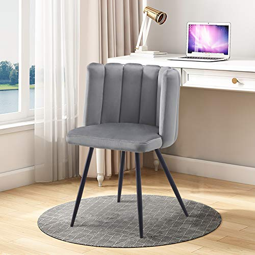 TUKAILAI Unique Grey Velvet Dining Chair Peception Chair Upholstered Seat with Black Metal Legs for Dining Room Accent Chair for Bedroom Modern Leisure Armchair Tub Chair for Living Room 1PCS
