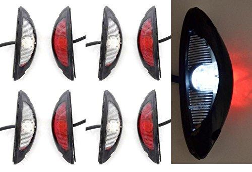 8 X LED double côté vertical Feux de gabarit 12 V 24 V Marquage E Rouge Blanc pour 4 x 4 Offroad Remorque Camion camping-car caravane Châssis
