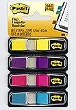 Post-it Haftstreifen Index Mini 683-4AB - Farbige Haftnotizen im extra kleinen Format 11,9 x 43,2 mm - 4 Haftstreifen Blöcke à 35 Blatt in 4 Farben im praktischen Spender