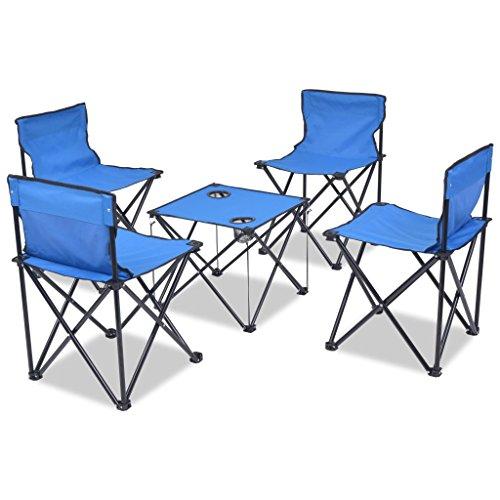 vidaXL Campingmöbel Set 5-TLG Klappbar Blau Campingtisch Sitzgarnitur Picknick