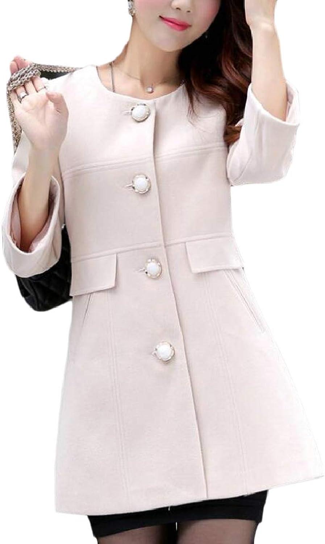PujinggeCA Womens 3 4 Sleeve Solid SingleBreasted Slim Fit Wool Coat