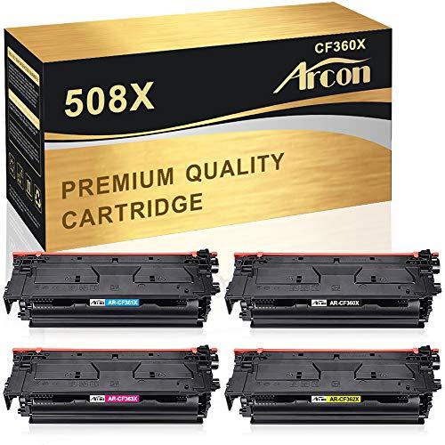 Arcon Kompatibel Toner Cartridge Replacement für HP 508X 508A CF360X CF360A CF361X CF362X CF363X für HP Color Laserjet Enterprise M552dn M553dn M553n M553x HP Color Laserjet Enterprise MFP M577