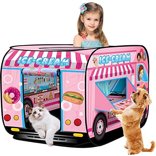 BUYGER Spielzelt für Kinder Eiswagen Faltbares Kinderspielzelt Mädchen Kinderzelt für Drinnen und Außenbereich Geschenk für Kinder Jungen ab 3 4 5 Jahren