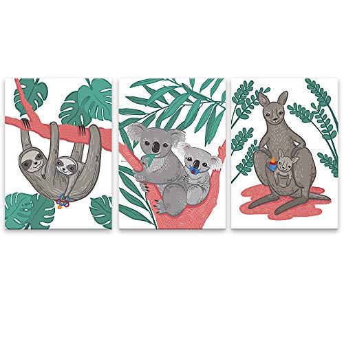 Lilcastle Kinder Baby Poster din A3 | 3er Set Bilder Kinderzimmer Deko Junge Mädchen | Bezaubernd Mamas & Papas - Faultier Koala Känguru mit Baby | Toll Uni Dekoration Babyzimmer