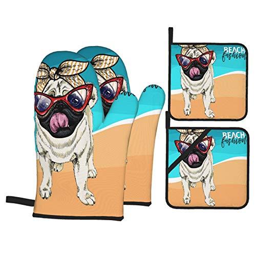 Juegos de Manoplas y Porta ollas para Horno,Perro Pug Retrato con Gafas De Sol Retro Guantes de Cocina Resistentes al Calor para Hornear en la Cocina, Parrilla, Barbacoa,BBQ