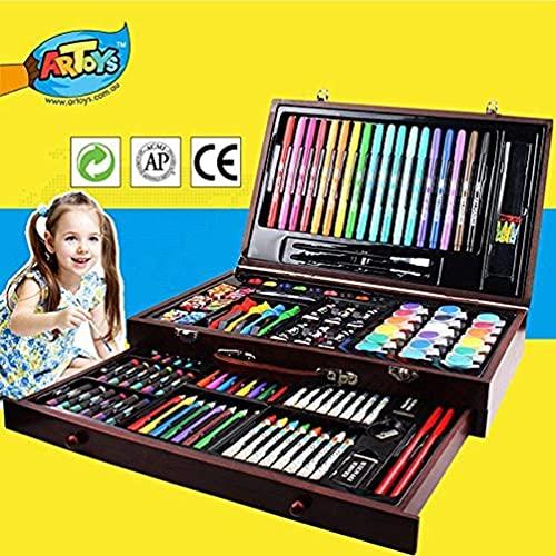 ARTOYS 123 piezas Conjunto de Dibujo de Arte,Set de Pintura Niño,suministros de arte de lanzadera en estuche de madera,Ideal para Libros para Adultos, Estudiantes o niños, Suministros de Arte Escolar