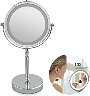 Volwco x10 Magnifying Mirror with Lights, 10x Magnifying Lighted Makeup Mirror High-Definition Clarity Double Sided 360 Rotation Polished Chrome Finish