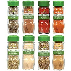 McCormick Gourmet Organic Thyme, Ground Siagon Cinnamon, Oregano, Smoked Paprika, Garlic Powder, Crushed Rosemary, Ground Cumin, and Cayenne Pepper together in one set USDA-Certified Organic and Non-GMO Project Verified Perfect starter set for a new ...