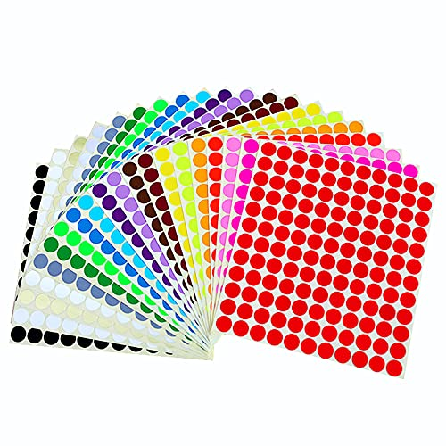 Adesive Etichette Colorate,2640 Pezzi Etichette Adesive 13 mm Bollini Adesivi Colorati per Ufficio a Casa 20 Colori