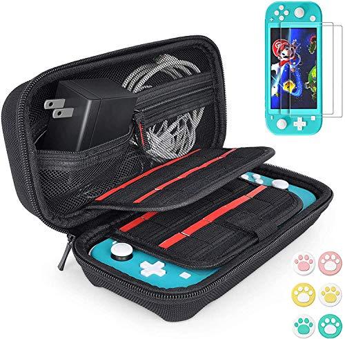 Tasche für Nintendo Switch Lite - Harte Hülle Case Tragetasche mit 2x Schutzfolie und 6x Daumengriffkappen für Nintendo Switch Lite 2019, Aufbewahrung von 20 Spiele, Konsole & Zubehör - Schwarz