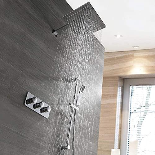 moderno sistema de ducha de espray superior cuadrado de 25 cm Juego de ducha de agua fría y caliente montada en la pared con varilla de elevación Grifo de ducha de cobre 2 modos Plata Hermosa práctica