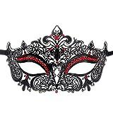 Seglorwy Womens Masquerade Mask Metal Rhinestone Venetian Halloween Christmas Party Evening Prom Mask (Black+Red)