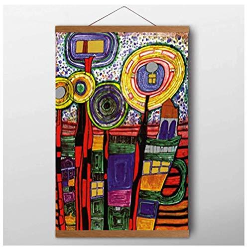 Friedensreich Hundertwasser Kunst Leinwand Malerei Drucke Wohnzimmer Wohnkultur Moderne Wandkunst Malerei Plakate Bilder Druck auf Leinwand, 40X60Cm Mit Rahmen