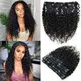 Apeasex Curly Hair Clip in Extensions Human Hair Brazilian Remy Curly Hair Clip ins Natural Black Color for African American Women 10Pcs/lot 120g/set (18 inch)