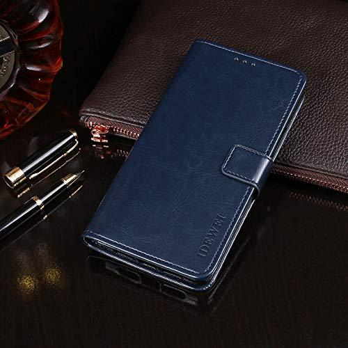 Liluyao Más Casos para Tableta Caballo Loco Textura Horizontal del Cuero del tirón con el sostenedor y Ranuras para Tarjetas y Monedero (Color : Dark Blue)