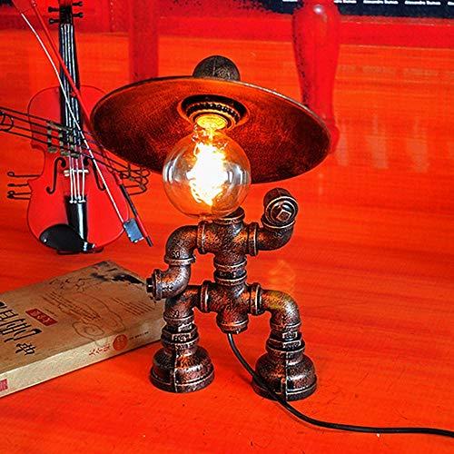 HtapsG Lámpara Escritorio Lámpara de Mesa de Robot de lámpara, lámpara de Tubo de Agua Creativa Personalizada, lámpara de Mesa Retro Decorada en Barra de café (24 * 20 * 39cm, Boca de Tornillo E27)