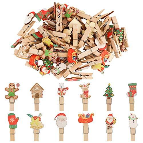 K KUMEED 48 Stück Weihnachtsdeko Holzklammern Weihnachten Klammern für Fotos, Mini Holz Handwerk Wäscheklammern Foto Papier Stift Handwerk Clip, Mini Holzklammern Weihnachten Klammern Holz Deko