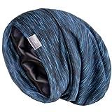 YANIBEST Silk Satin Bonnet Hair Cover Sleep Cap - Blue Adjustable Stay on Silk Lined Slouchy Beanie Hat for Night Sleeping