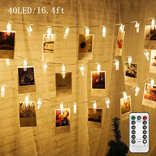 Twinkle Star 16.4 ft 40 Photo Clips String Lights Battery Operated & Remote Control Fairy String Lights with Clips for Hanging Pictures, Cards, Artwork, Warm White